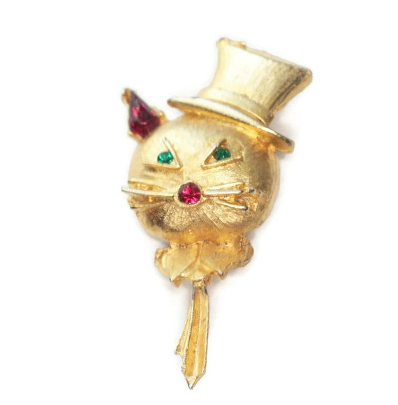 Cat with Top Hat Pin Rhinestones Figural Cat Lover Kitsch Retro Jewelry
