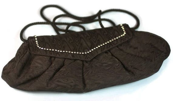 Black Moire Fabric Evening Handbag Purse Rhinestone Accents Whiting and Davis Designer Vintage
