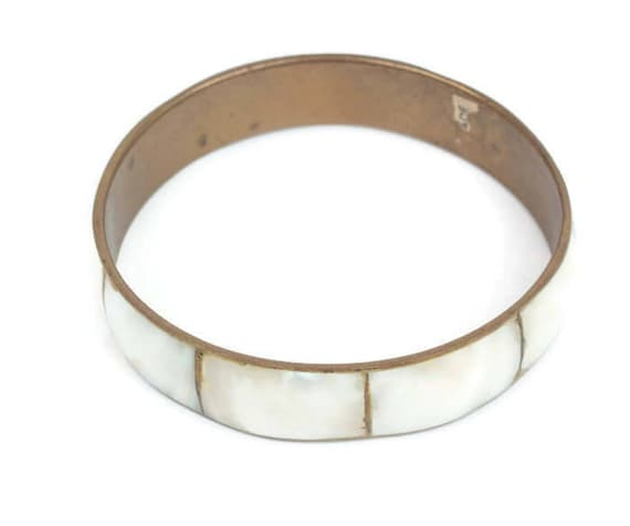 Mother of Pearl Shell Brass Bangle Bracelet Boho Style Made in India Vintage