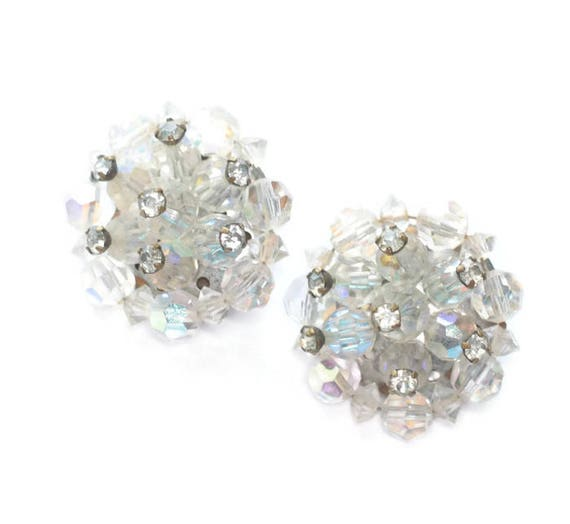 Aurora Borealis Crystal Earrings Cluster Rhinestone Accents Clip On Style
