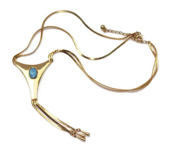 Gold Tone Tassel Necklace Faux Turquoise Cabochon Two Strands Vintage Necklace