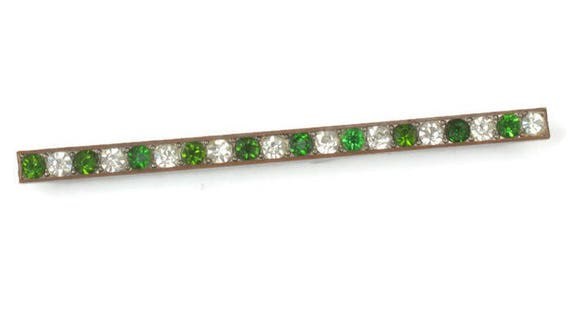 Green and Clear Crystal Bar Pin Edwardian Era Vintage Antique