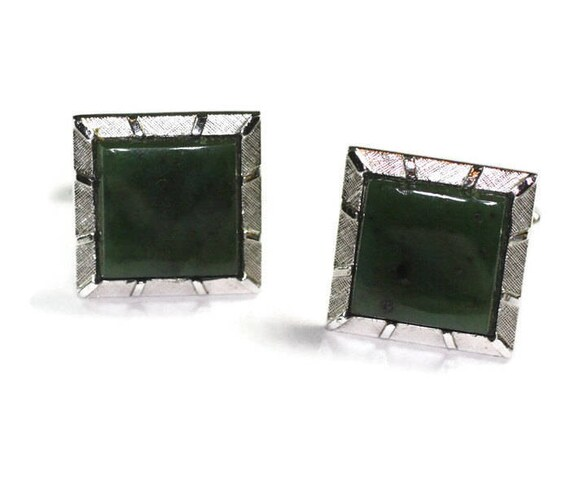 Green Stone Cuff Links Swank Silver Tone Square Vintage Cufflinks Father's Day