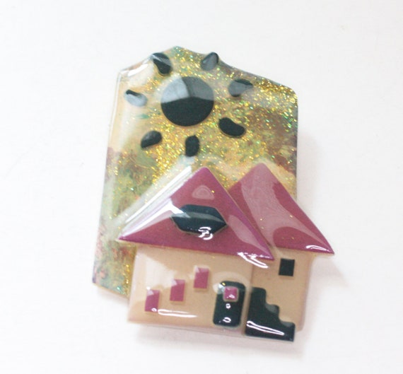 Lucinda House Acrylic Pin Brooch Red Roof Rainbow Colors Helping Homeless