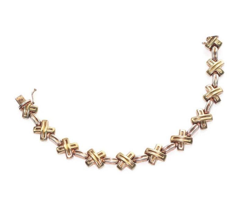Milor Italy Bracelet Sterling Vermeil Gold Wash Cross Link Design Vintage