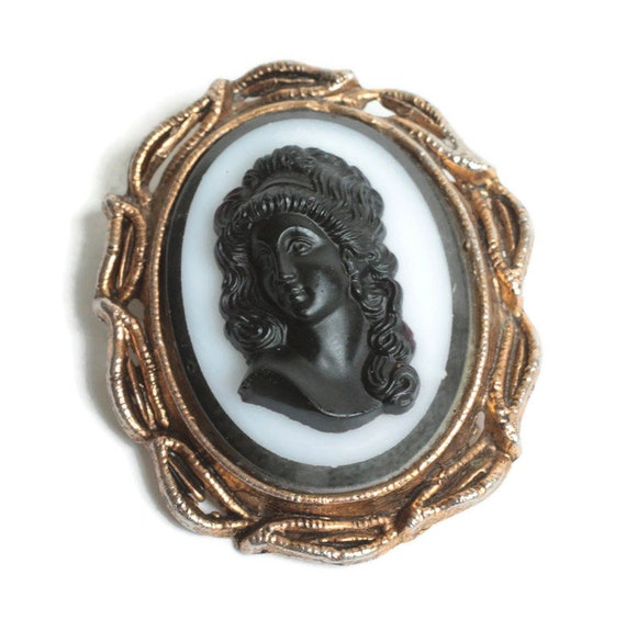 Black Glass High Relief Cameo Molded Glass Gold To