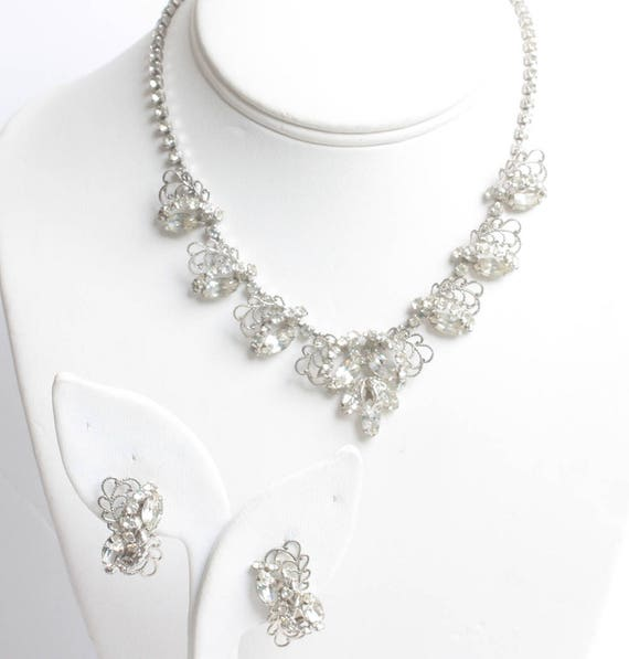 Rhinestone Filigree Choker Necklace Earring Set Silver Tone Wedding Bridal Evening Out Vintage
