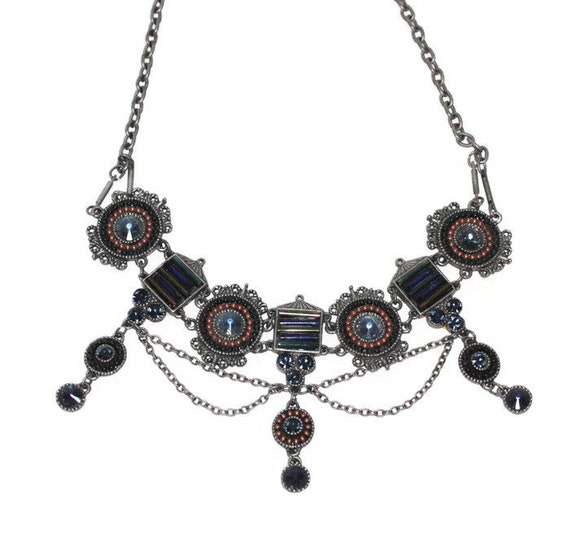 Vintage Festoon Rhinestone Beaded Necklace Blue Stones Beading Dark Silver Tone Metal