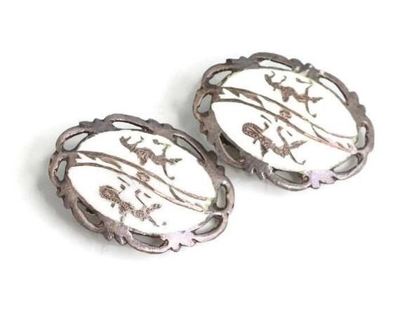 Vintage White Enamel Siam Earrings Sterling Deities Lightning Gods Oval Earrings