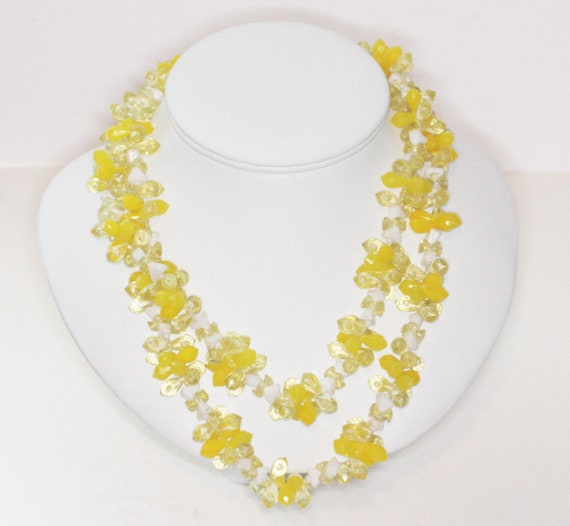 Yellow and White Bead Two Strand Necklace Hong Kong Mid Century Vintage