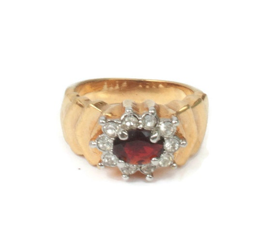 Simulated Garnet Ring Clear Crystals Stepped Shoulders Size 7 or 8 Vintage Retro Ring