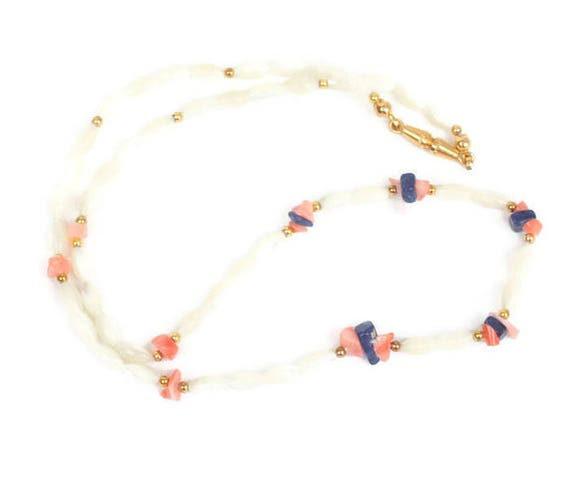 Mother of Pearl Rice Bead Necklace Coral Lapis Bead Accents Vintage