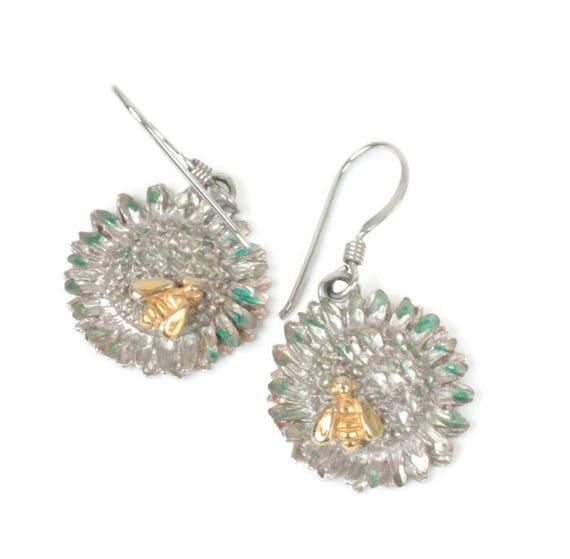 Sterling Sunflower Dangle Earrings Gold Tone Bee Green Enamel Vintage Summer Theme