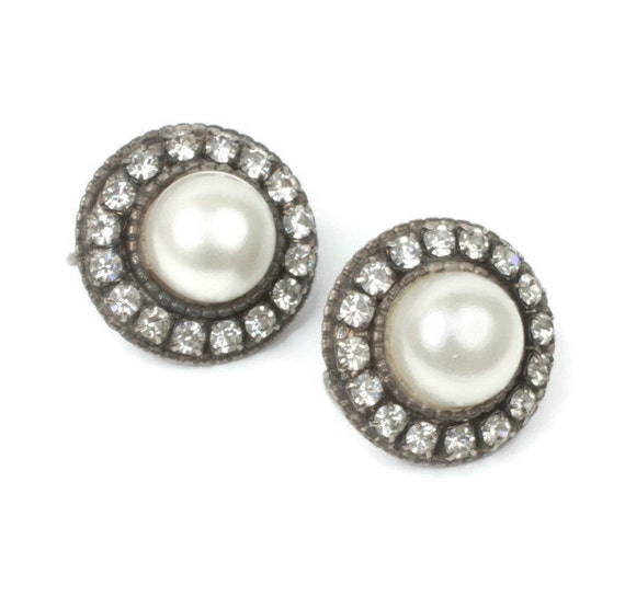 Faux Pearl Earrings Rhinestone Accents Domed Round Vintage