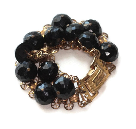 Black Bead Book Chain Link Bracelet Two Rows Gold Tone Filigree