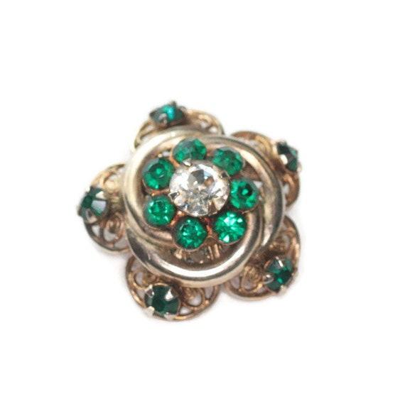 Green Rhinestone Star Shaped Pin Gold Tone Filigree Smaller Size Czech Lapel Collar Pin Brooch