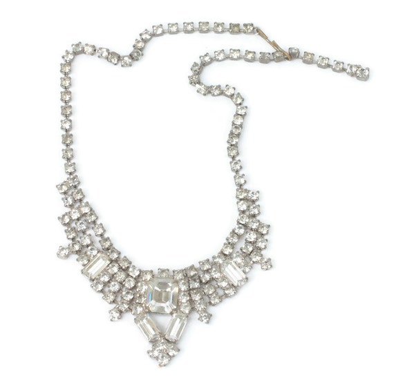 Clear Rhinestone Necklace Wedding Prom Pageant Chatons Baguettes Choker 15 Inches Vintage