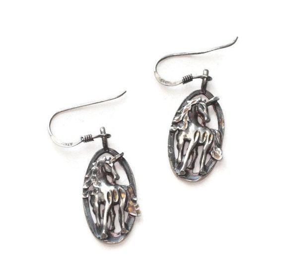 Sterling Silver Unicorn Dangle Earrings Oval Cut Outs French Ear Hooks