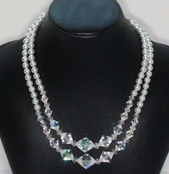 AB Crystal and Pearl Necklace Two Strands White Pearls Wedding Necklace