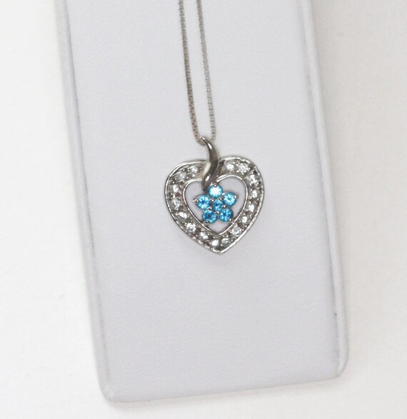 Sterling Heart Pendant Necklace Ross-Simons Blue and Clear Crystals Vintage