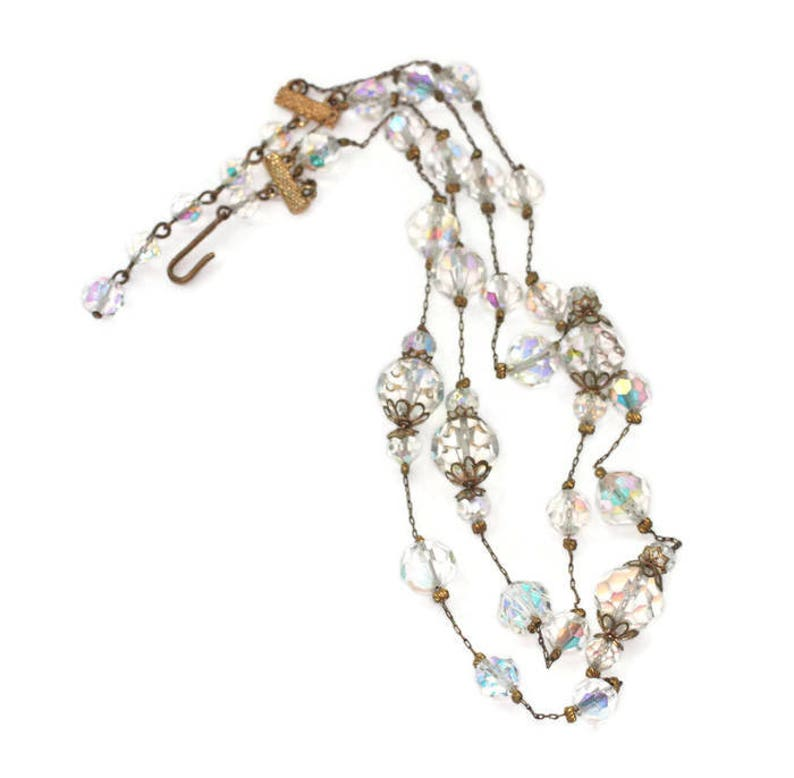 Aurora Borealis Crystal Bead Stations Necklace Two Strands Fine Gold Tone Metal Chain Vintage