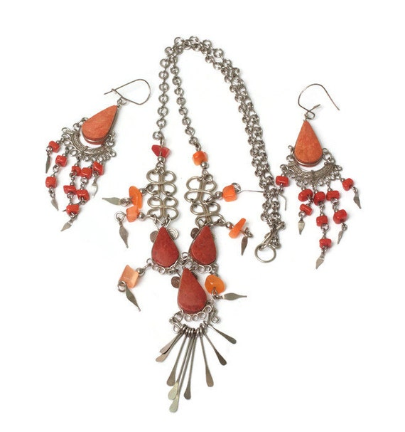 Orange Stone Boho Necklace Earrings Beads Dangles Vintage Tribal Artisan