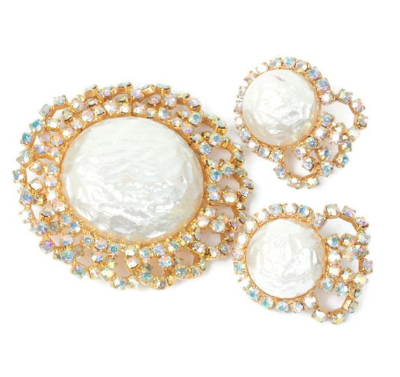 Faux Pearl and AB Rhinestone Brooch and Earrings Vintage Set