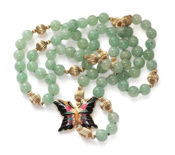 Green Aventurine Bead Necklace Cloisonne Butterfly Focal Gold Tone Beads Hand Knotted Vintage