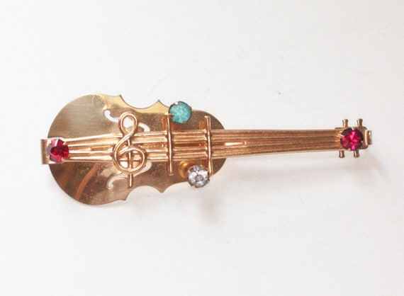 Vintage Violin Brooch Pin Rhinestones Notes Treble Clef Gold Tone Gift for Musician