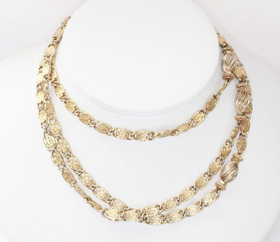 Longer Snail Chain Necklace Gold Tone Ribbed Accent Beads 44 Inch Necklace Retro Necklace