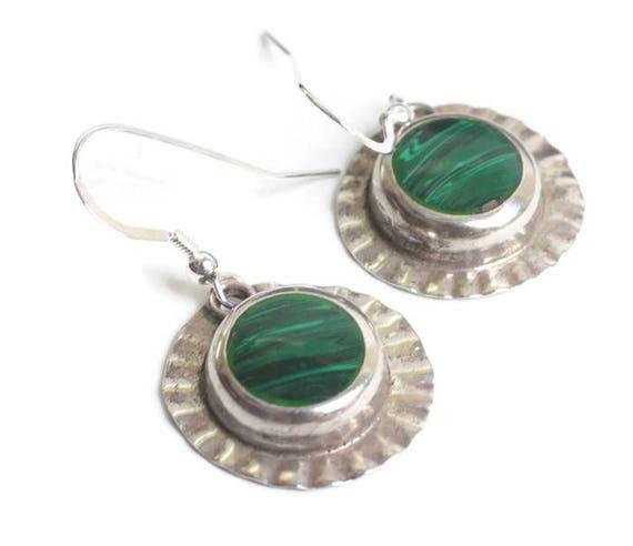 Malachite and Sterling Dangle Earrings Mexico Ear Wires Boho Festival Vintage Earrings