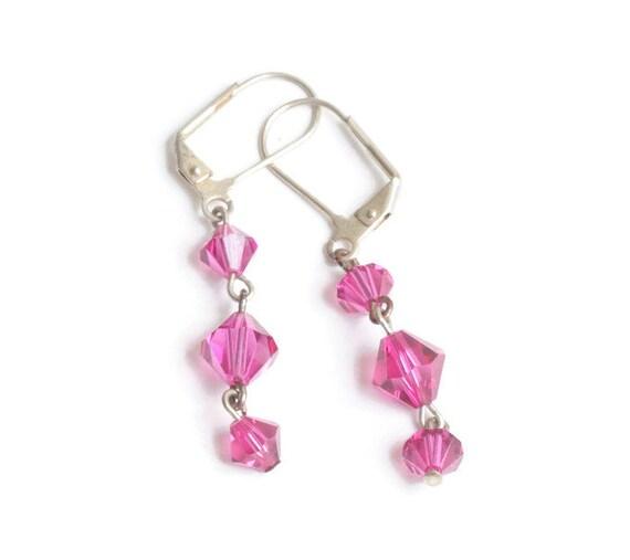 Fuchsia Pink Crystal Dangle Earrings Lever Back Vintage