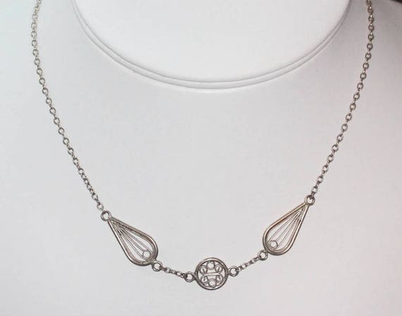 Sterling Silver Retro Necklace Filigree Stations Vintage Choker