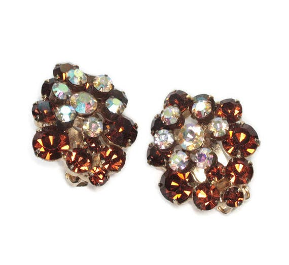 Golden Brown and Clear Rhinestone Earrings Juliana Earrings Dimensional Clusters Clip Vintage