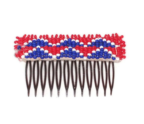 Native American Beaded Hair Comb Red White Blue Beads Vintage Hair Accessory