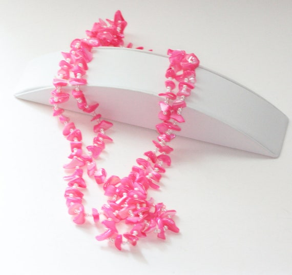 Bright Pink Mother of Pearl Necklace Faux Pearls 70 Inches long