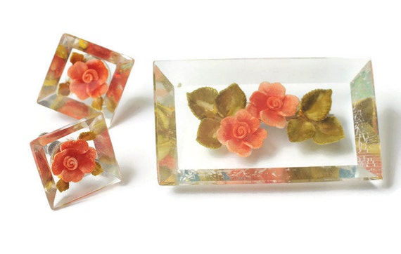 Orange Flower Lucite Brooch and Earrings Set Vintage 1950s Screw Back Earrings