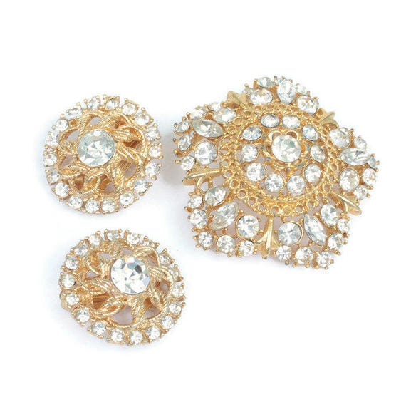 Crystal Rhinestone Star Shaped Brooch Round Clip Earrings Vintage Set
