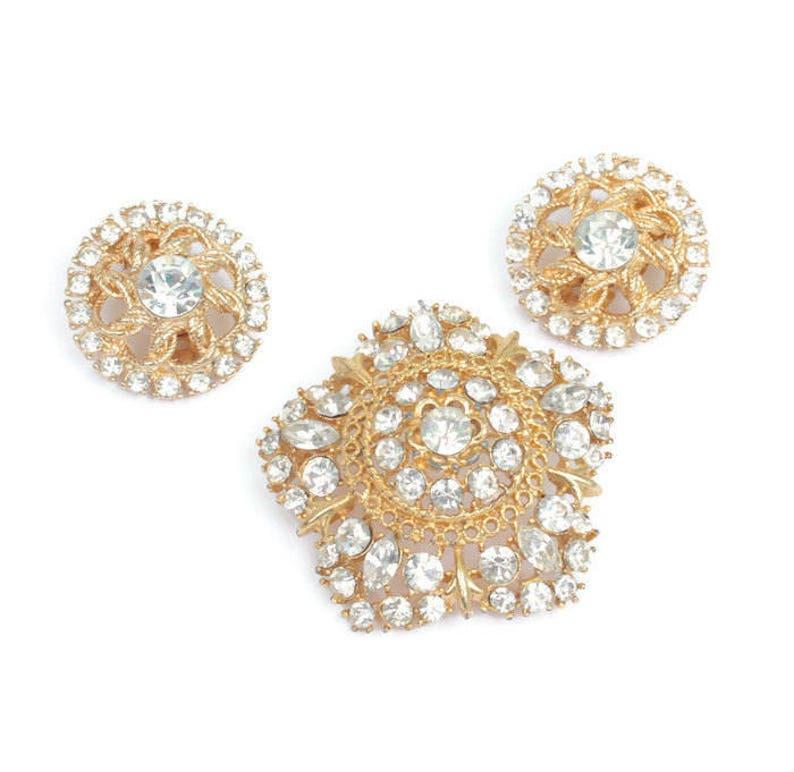 Crystal Rhinestone Star Shaped Brooch Round Clip Earrings Vintage Set