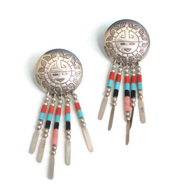 Southwestern Dangle Earrings Sterling Hopi Sun Face Style Turquoise Beads Signed QT Vintage