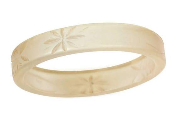 Etched Engraved  Bangle Bracelet Plastic Pale Neutral Color Vintage
