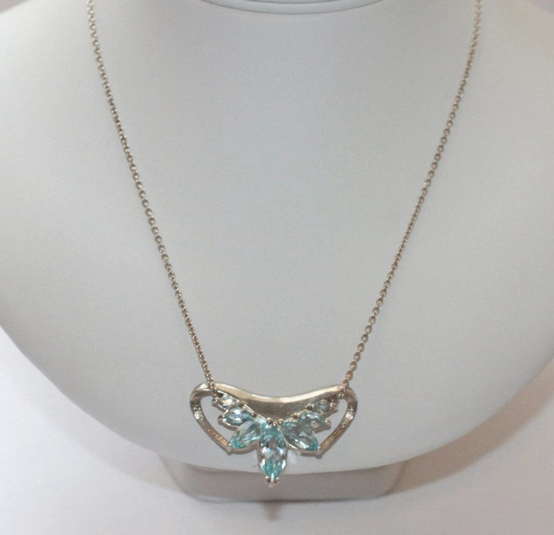 Blue Topaz and Sterling Pendant Necklace Seven Marquise Stones 18 Inch Chain Vintage