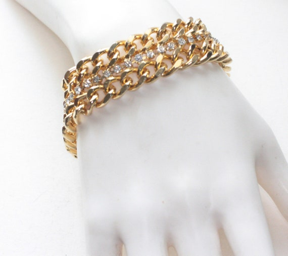Chunky Double Curb Link Bracelet Clear Rhinestones Gold Tone Wide Retro Style Vintage