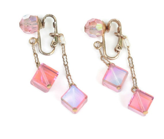 Pink AB Dangle Earrings Cubes Bead 2 Inch Drop Clip On Vintage