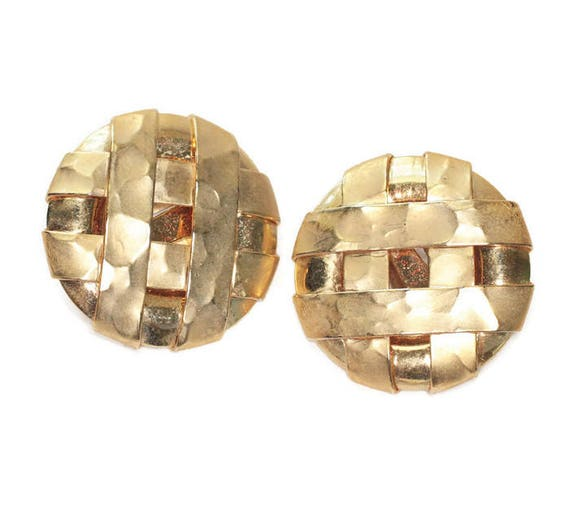 Woven Design Large Circle Earrings Hammered Finish Clip On Vintage