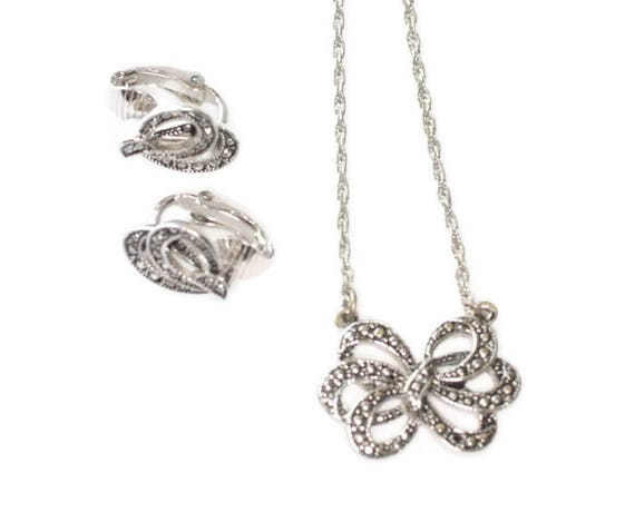Faux Marcasite Bow Necklace and Earrings Set Avon Vintage