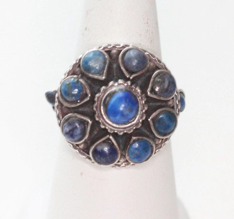 Lapis Lazuli and Sterling Silver Zuni Style Ring Size 7 Vintage Southwestern Cluster Statement Ring