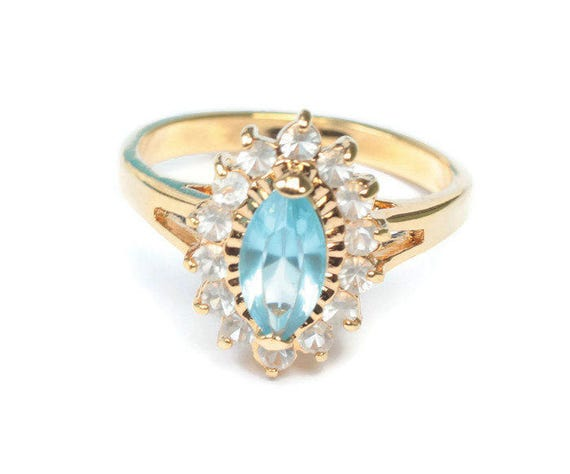 Blue Marquise Rhinestone Ring Clear Rhinestones Cocktail Dinner Ring Size 9