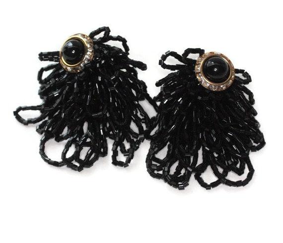 Black Beaded Draped Earrings Black Cabochon Rhinestones Clip On 1980s Bling Vintage