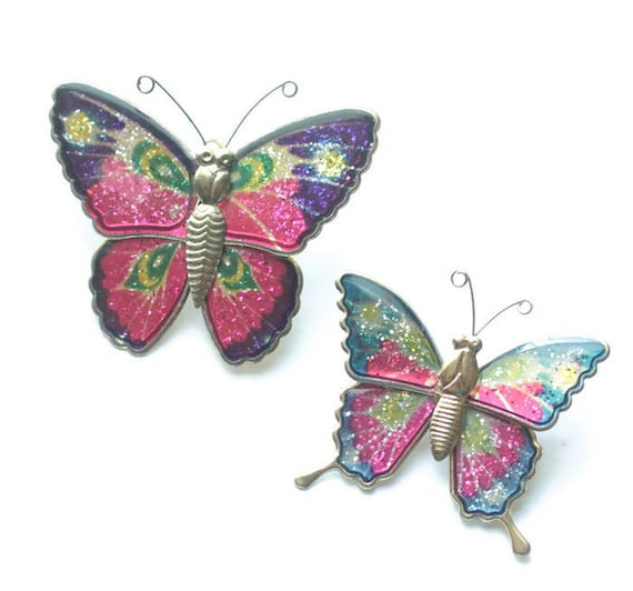 Pair of Iridescent Butterfly Pins Vintage Colorful Glittery Sparkly